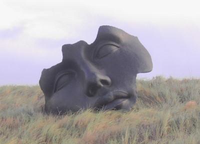 Bronze Maske am Meer