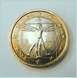 Italienische 1 Euro Mnze mit Zeichnung v. Leonardo da Vinci