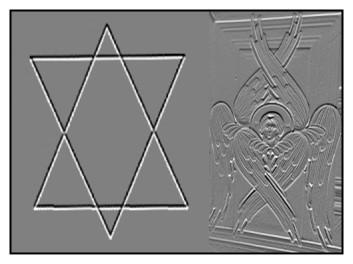 Sechseck und sechsflügeliger Seraphim