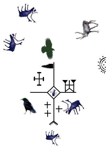 Kosmos der Samen auf Schamanen-Trommel (Ausschnitt)