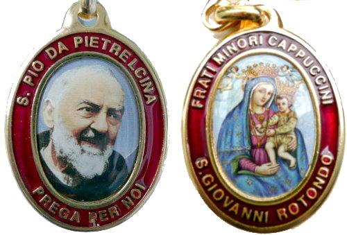 Medaille mit dem heiligen Padre Pio und der Madonna!
