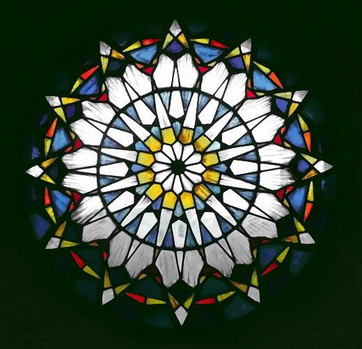 Fenster-Rosette in der Kirche in Dagebüll, Nordfriesland zum Christuswort…