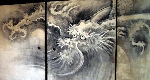 Wandgemälde eines Drachen in einem Zen-Tempel in Kyoto!