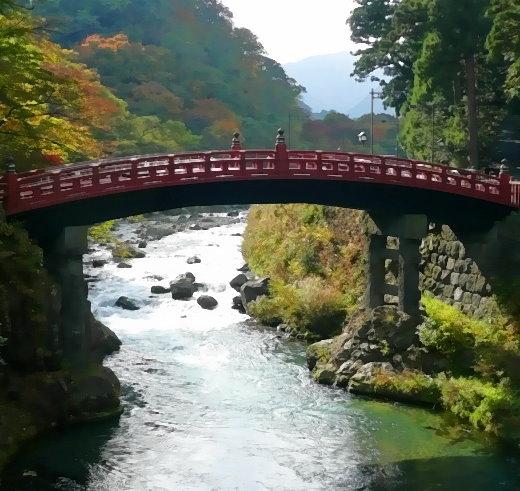 Heilige Brücke über den Daiya Fluss in Nikko/Japan