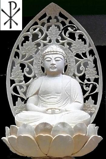 Buddha-Figur mit Meditationsgeste und Christus-Zeichen PX