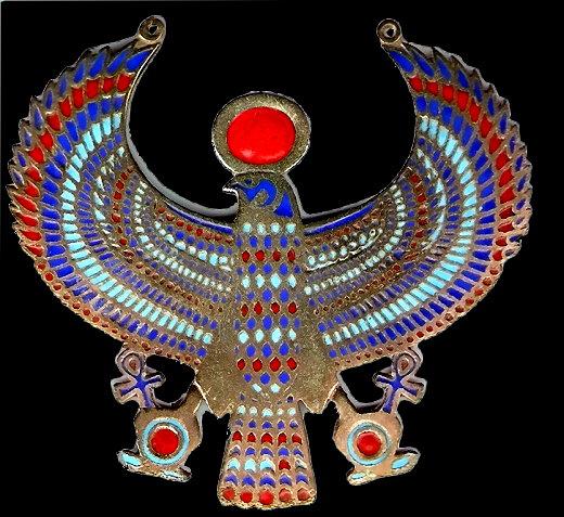Re-Harmachis, Verschmelzung von Sonnengott Re und Horus-Falke mit Sonnen-Symbol und Ankh-Kreuzen