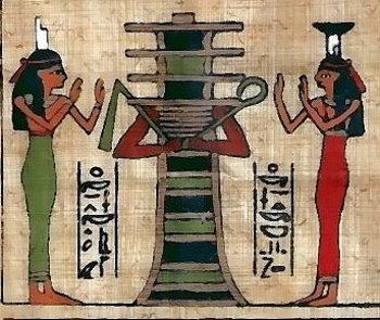 Osiris in Djed-Gestalt wird von Isis (links) und Nephthys (rechts) angebetet.