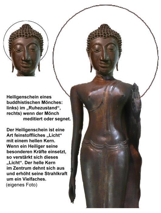 Buddhistischer Mönch mit Heiligenschein, ruhend und aktiviert!
