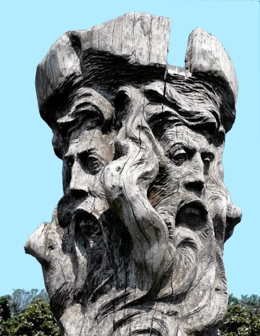 Die beiden der Sonne zugewandten Gesichter der Slaven-Gottheit Svantevit auf Kap Arkona, Rügen