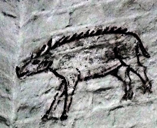 Das Schwein als Symbol des Teufels, Wandmalerei aus dem 12. bis 14. Jahrhundert in der Pfarrkirche Altenkirchen, Rügen