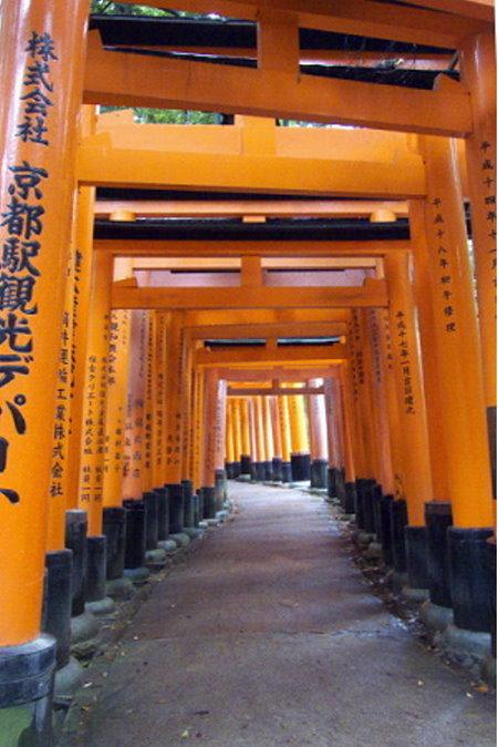 Allee von Torii im Schrein der Reisgöttin Inari in Kyoto