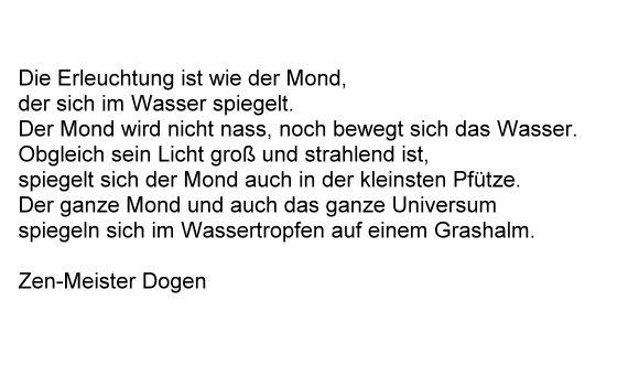 Vergleich der Erleuchtung mit dem Vollmond, Gedicht von Zen-Meister Dogen.