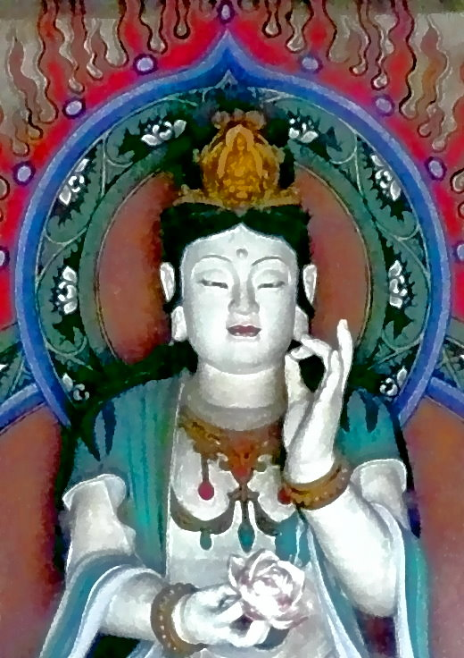 Guanshiyin, der Bodhisattva des Mitgefühls, mit einem Meditations-Buddha über dem Kopf