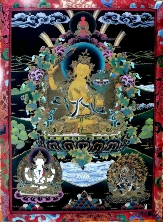 Der Bodhisattva Manjushri mit Meditations-Buddha über dem Kopf