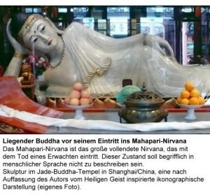 Beispiel für eine vom Heiligen Geist inspirierte ikonographische Darstellung des liegenden Buddha, bevor er die Erde verlässt.