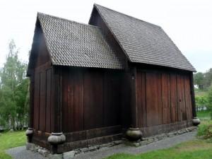 Nordseite der Stabkirche im Museum Trondheitm
