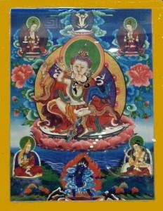 Bodhisattva in Vereinigung mit Gefährtin als Symbol der Verschmelzung von Mitgefühl und Weisheit