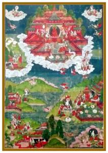 Wuji Thangka mit Buddha Amidas Reinem Land